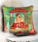 Multicolour Matt Satin 16 x 16 Inch Mughal Style Digital Print & Embroidery Cushion Cover