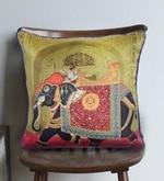Multicolour Matt Satin 16 x 16 Inch Mughal Style Print & Embroidery Cushion Cover