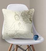 Off-white & Light Golden Cotton 16 x 16 Inch Buddha & Bodhi Tree Embroidery Cushion Cover
