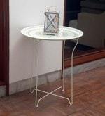 Bordeaux Steel Folding Coffee Table in White