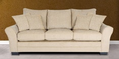 Bordeaux Beauty Three Seater Sofa With Throw Cushions In Cappuccino Colour By Urban Living