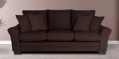 Bordeaux Beauty Three Seater Sofa with Throw Cushions in Java Brown Colour
