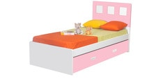 Boston Kids Single Bed with Trundle in Pink & White Color