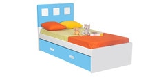 Boston Kids Single Bed with Trundle in Blue & White Colour