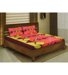 Orange Cotton Queen Size Bedsheet - Set of 3