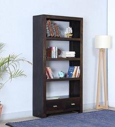 Oriel Solid Wood Tall Book Shelf In Warm Chestnut Finish