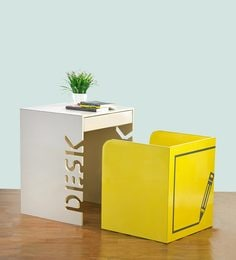 Box Kids Table & Chair Set In Beige & Yellow Colour With Sticker By Arsya Designs