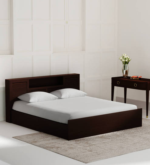 Buy Bolton King Size Bed With Storage In Wenge Finish By Hometown