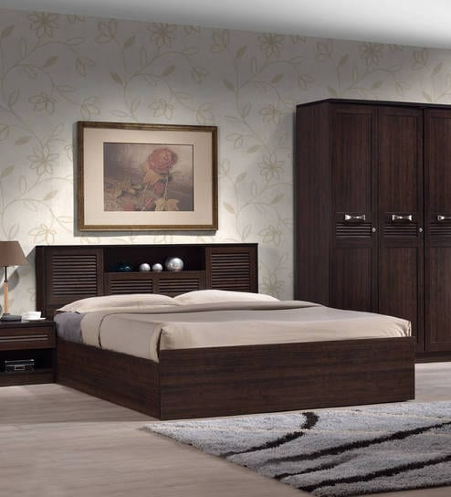 Buy bolton queen size bed with storage in wenge finish by - Modern queen bed with storage ...