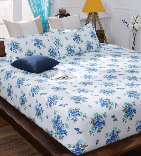 Beautiful Bombay Dyeing Blue Cotton Queen Size Bedsheet   Set Of 3