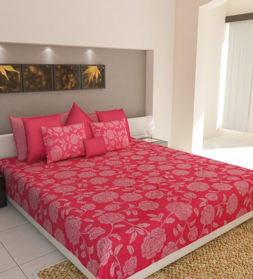96a18e7e6 Buy Dewdrop Pink Cotton Double Bed Sheet (with Pillow Covers) by Bombay  Dyeing Online - Nature and Florals Queen Size Bed Sheets - Bed Sheets -  Pepperfry