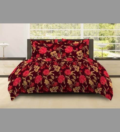 7d24c6e3b Bombay Dyeing Pink Cotton Floral Double Bed Sheet (with Pillow Cover) - Set  of