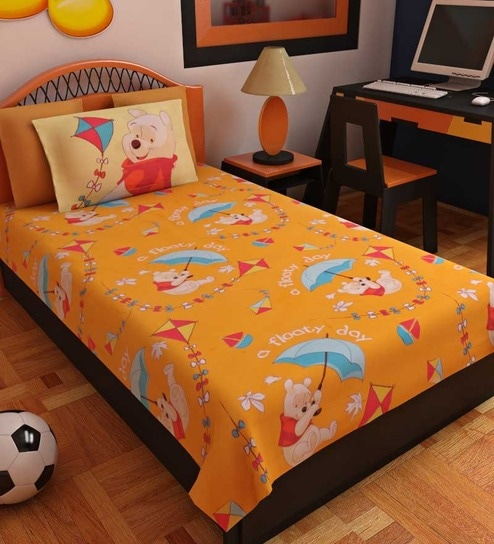 Bombay Dyeing Orange 100% Cotton Cartoon Bed Sheet (with Pillow Covers)    Set