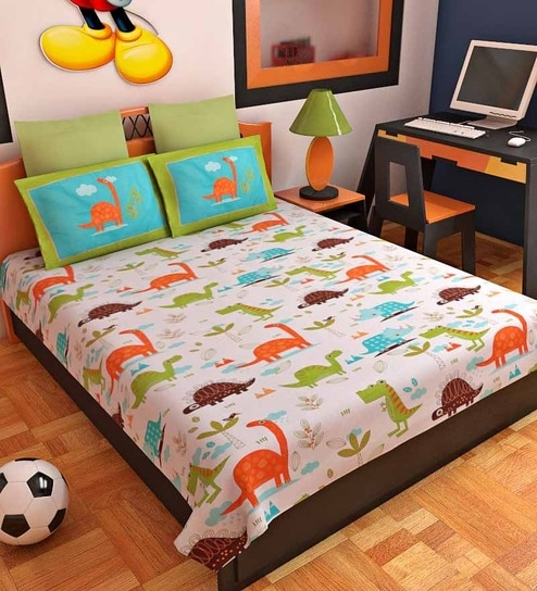 Bombay Dyeing Green U0026 Blue Dinosaur Single Bed Sheet Set