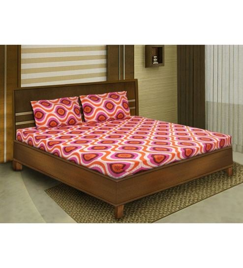 Orange Cotton Queen Size Bedsheet   Set Of 3 By Bombay Dyeing
