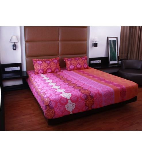 ee682f858 Buy Pink Cotton Queen Size Bedsheet - Set of 3 by Bombay Dyeing Online -  Abstract Patterns Queen Size Bed Sheets - Queen Size Bed Sheets -  Mattresses ...