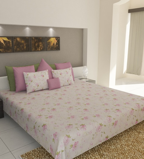 Florentine Pink Cotton Double Bed Sheet (with Pillow Covers) By Bombay  Dyeing