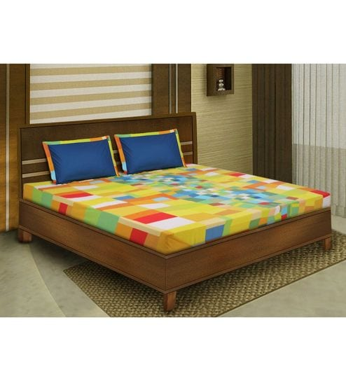 Yellow Cotton King Size Bedsheet   Set Of 3 By Bombay Dyeing