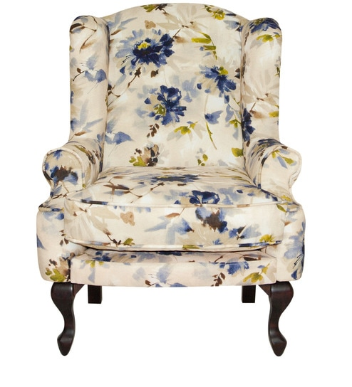 Bordeaux Wing Chair In White Colour With Blue Floral Design By Urban Living