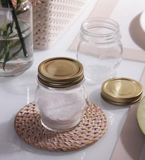 Borgonovo Ortolano Round 314 ML Canning Jar With Golden Lid - Set Of 6