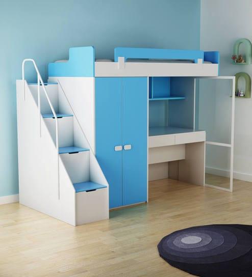 Buy Boston Study Kids Bunk Bed Set In Blue White Colour By Alex