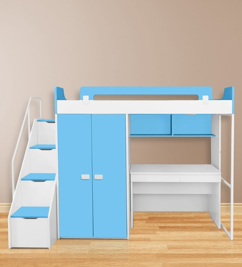Boston Study Kids Bunk Bed Set In Blue White Colour By Alex Daisy