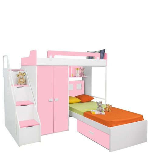 Buy Boston Twin Bunk Bed Set In Pink White Colour By Alex Daisy