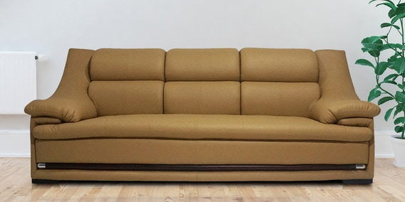 Boston Three Seater Sofa In Beige Leatherette By Furniture Mind