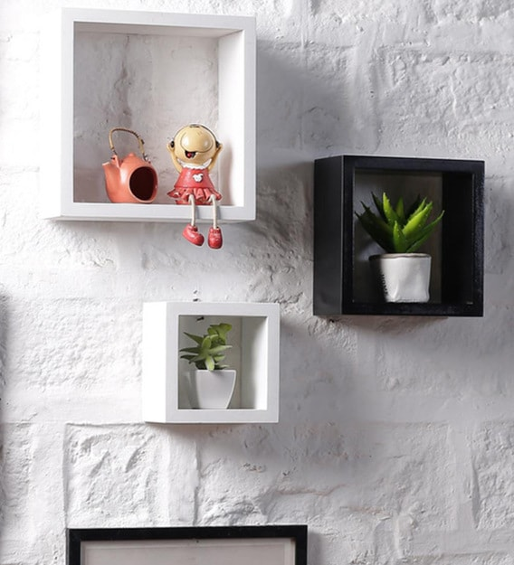 Buy Set Of 3 Engineered Wood Square Wall Shelf In Black White Colour By Driftingwood Online Modern Wall Shelves Wall Shelves Home Decor Pepperfry Product