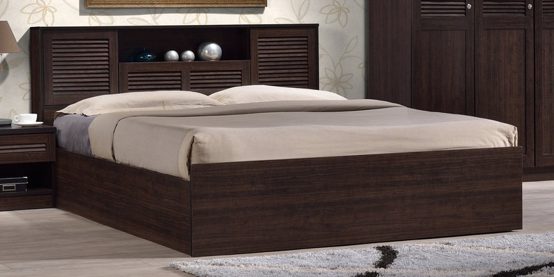 Buy Bolton Queen Size Bed With Storage In Wenge Finish By