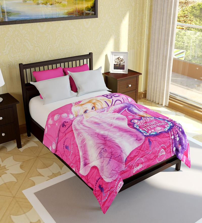 Buy Barbie Single Size Cotton Bed Quilt By Bombay Dyeing