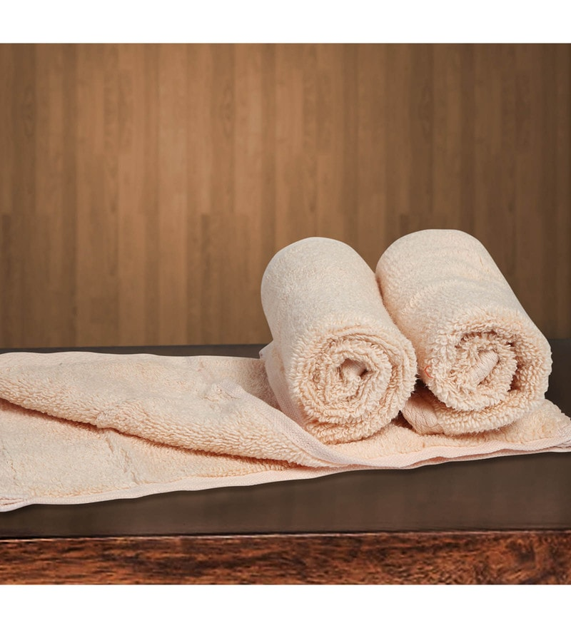 Beige Cotton 12 X 12 Inch Towels - Set of 3 by Bombay Dyeing