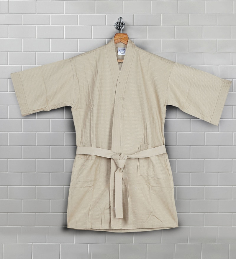 Beige Cotton 41 X 12 Inch Bath Robe by Bombay Dyeing