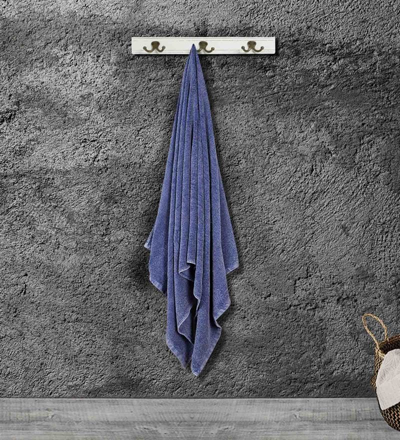 Blue Cotton 35 X 15 Inch Gym Towel by Bombay Dyeing