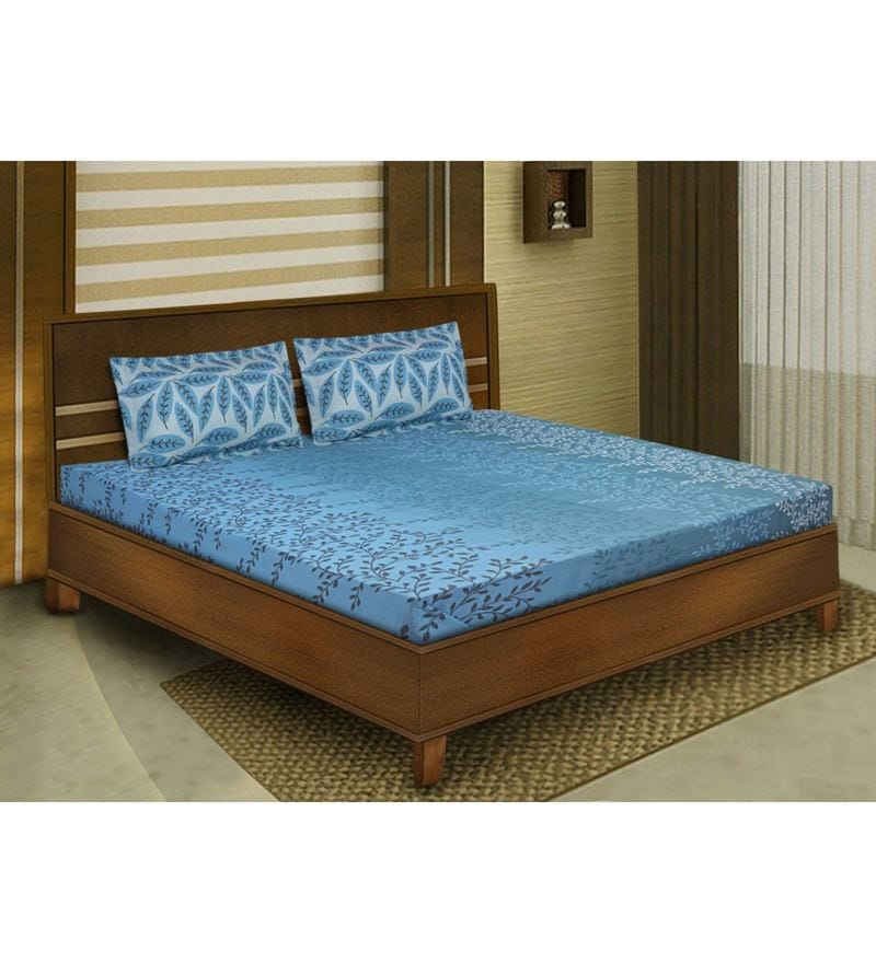 Blue Cotton Queen Size Bedsheet - Set of 3 by Bombay Dyeing