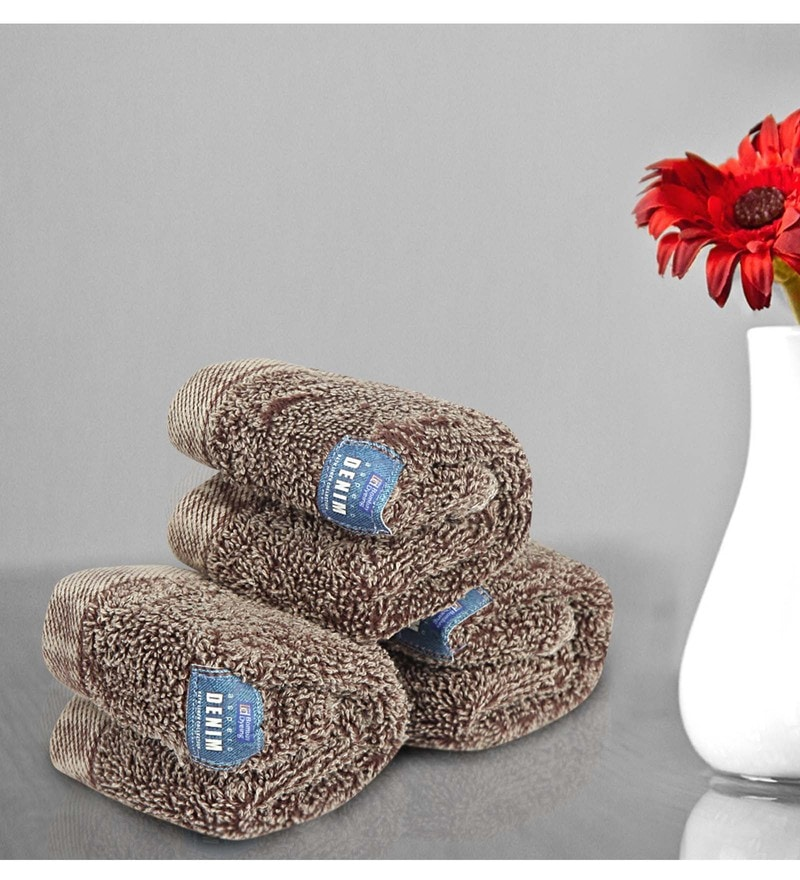 Brown Cotton 12 X 12 Inch Towels - Set of 3 by Bombay Dyeing