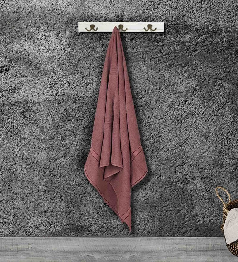 Brown Cotton 59 X 30 Inch Bath Towel by Bombay Dyeing