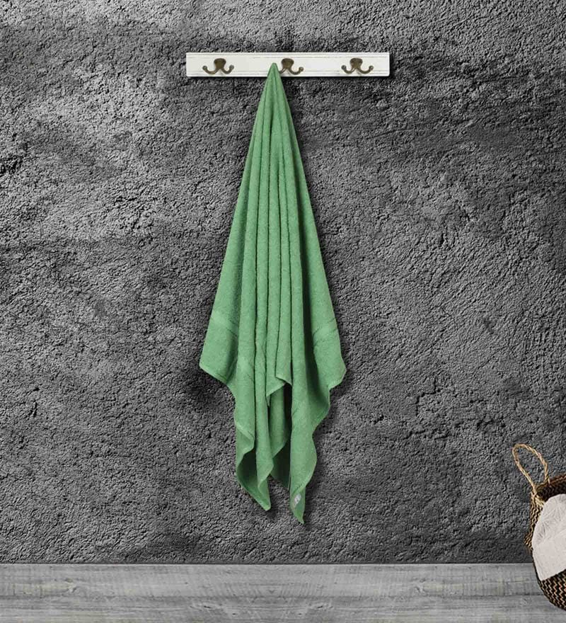 Green Cotton 59 X 30 Inch Bath Towel by Bombay Dyeing