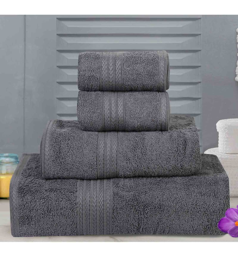 Grey Cotton Tulip Towels - Set of 4 by Bombay Dyeing