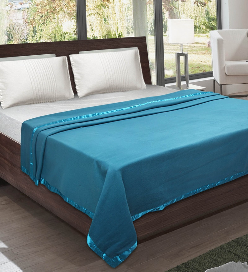 Teal Blue Fleece 94 x 87 Inch Blanket by Bombay Dyeing