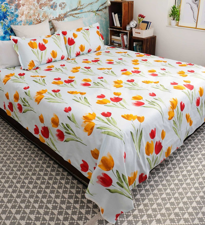 18f84e432f Buy Orange 100% Cotton Queen Size Florentine Bed Sheet - Set of 3 by ...
