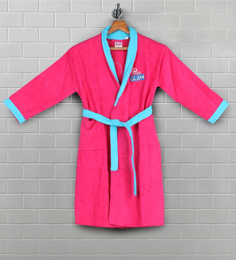 Pink Cotton 30 X 31 Inch Kids Bathrob by Bombay Dyeing