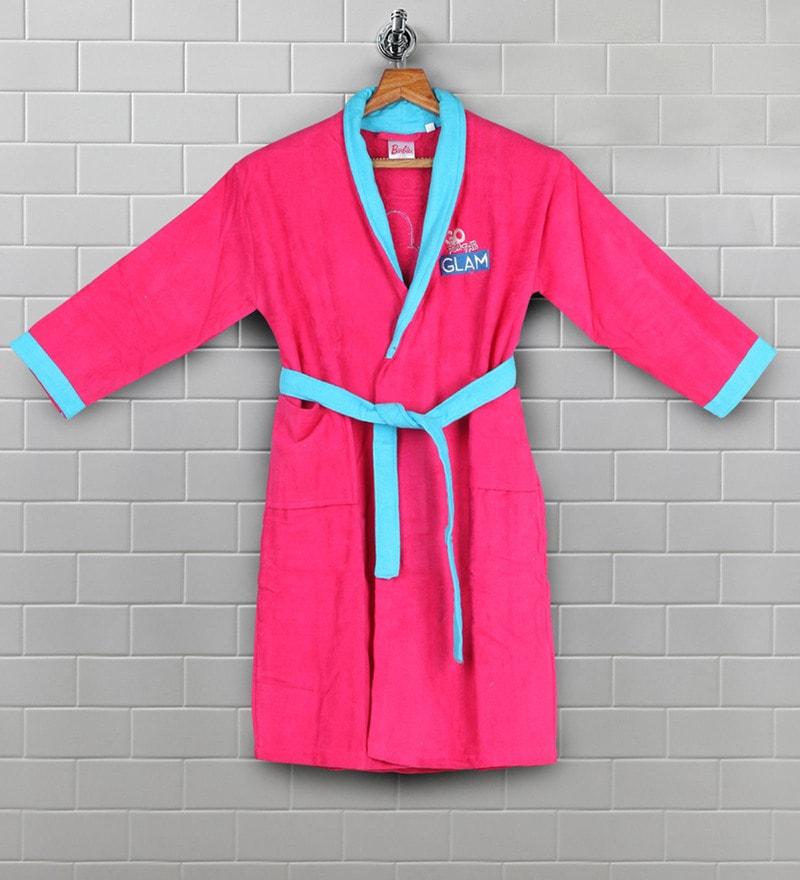 Pink Cotton 31 X 11 Inch Kids Bathrob by Bombay Dyeing