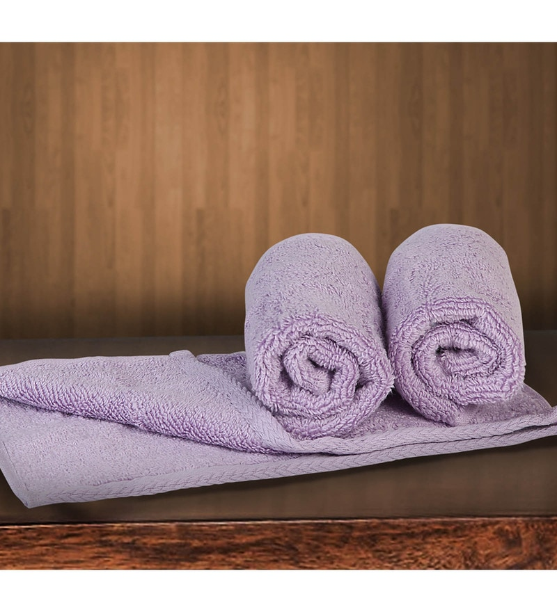 Purple Cotton 12 X 12 Inch Towels - Set of 3 by Bombay Dyeing