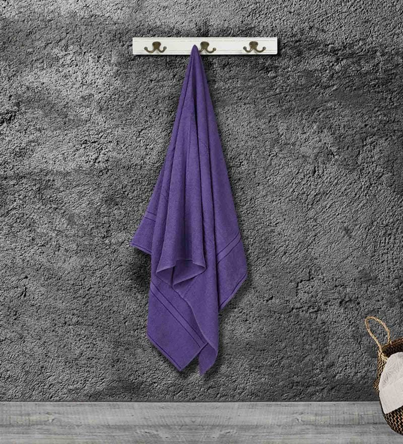 Purple Cotton 55 X 28 Inch Bath Towel by Bombay Dyeing