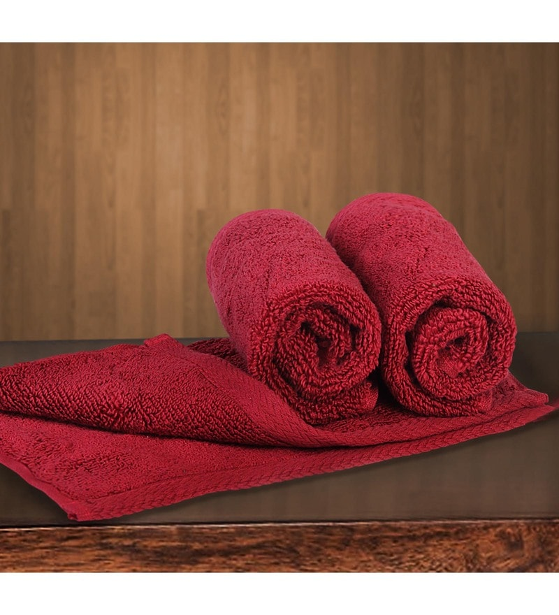 Red Cotton 12 X 12 Inch Towels - Set of 3 by Bombay Dyeing