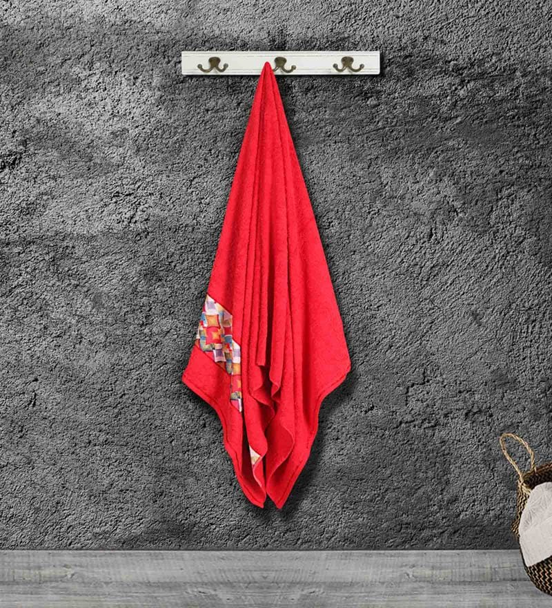 Red Cotton 59 X 30 Inch Bath Towel by Bombay Dyeing
