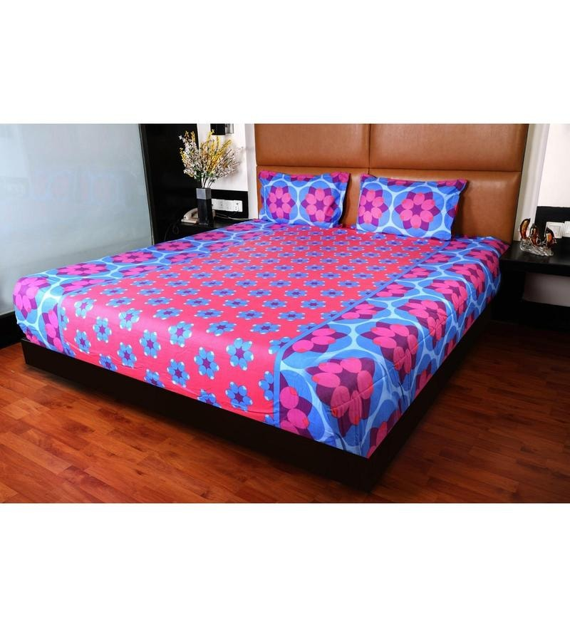 Red Cotton King Size Bedsheet - Set of 3 by Bombay Dyeing