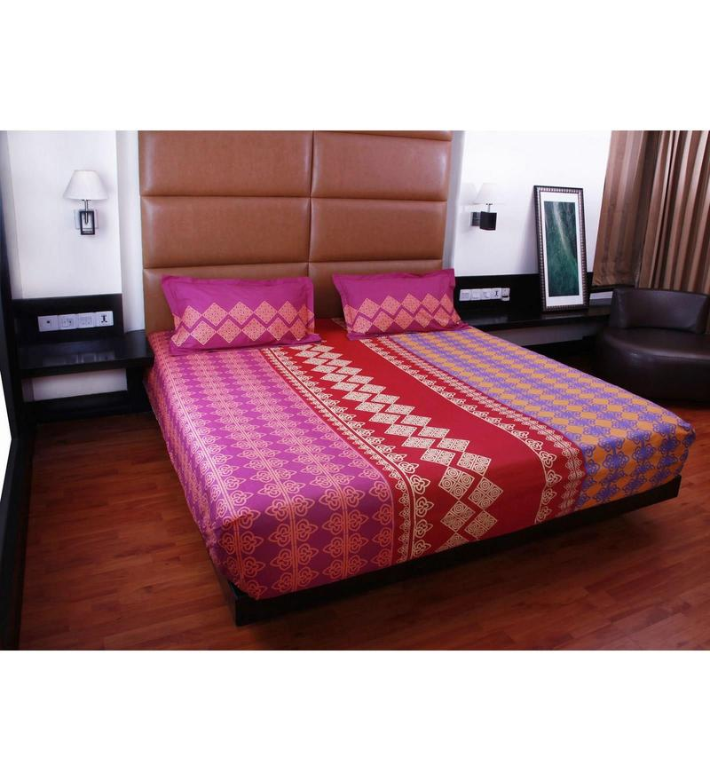 Red Cotton Queen Size Bedsheet - Set of 3 by Bombay Dyeing