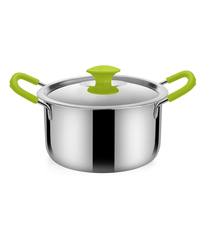 Stainless Steel 2.6 L Hearty Dutch Oven with Green Handle by Bonita